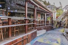 Matala street. Colorful street with  restaurants and taverns in Matala village , Crete , Greece , Europe Royalty Free Stock Images