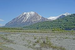 Matanuska河烘干了与距离的Mountain,阿拉斯加国王 免版税库存照片