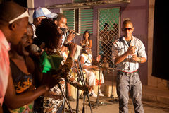 MATANZAS, CUBA - DEC 12: Undifined cuban band playing in the str stock photo