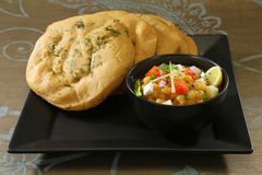 Matar kulcha or Dried yellow peas chaat with pan cooked bread Stock Photo