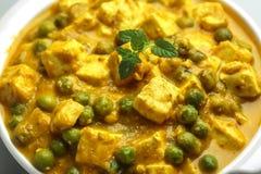 Matar paneer masala - een Indische keuken Stock Afbeelding