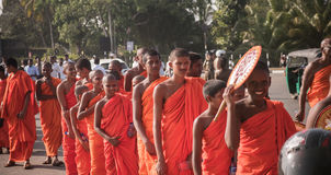 Matara, Sri Lanka, 17 January: Buddhist monks walk on a pilgrimage through the sri lanka monks are taking part in the royalty free stock photography