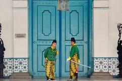 MATARAM CULTURE. Royal courts of Mataram-Surakarta at Solo, Java, Indonesia. The culture of the sixteenth century Mataram Sultanate of Java pretty much dominate stock photo