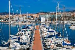 Mataro-Hafen Ruhiger See mit vielen Booten stockfotos