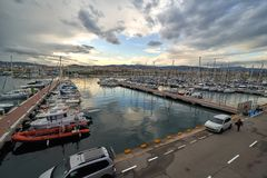 MATARO, SPAIN - MAY 19, 2019: View of port on a sunset. royalty free stock photo