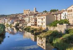 Matarranya river and Valderrobres medieval village. In Aragon, Spain royalty free stock photo