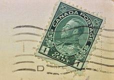 Matasellos del sello del Uno-centavo de Canadá fotos de archivo
