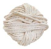 Matassa bianca della corda del cotone isolata Fotografia Stock Libera da Diritti