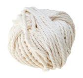 Matassa bianca della corda del cotone isolata Immagini Stock Libere da Diritti