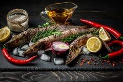 Matbakgrund för fiskpikdisk som lagar mat med olika ingredienser Rå pikar med olja, örter och kryddor på skärbrädan, överkant arkivbild