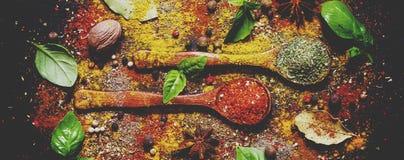 Matbakgrund, kryddor, torkade örter, anis, muskotnöt och ny gr royaltyfria bilder