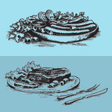 Matbilder för meny stock illustrationer
