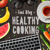 Matblogg, sund matlagning, livsstil stock illustrationer