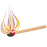 Match. Vector flaming match, isolated object on white Stock Photo