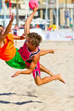 Match of the 19th league of beach handball, Cadiz Stock Photo