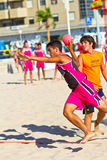 Match of the 19th league of beach handball, Cadiz Royalty Free Stock Images