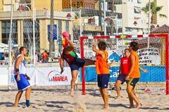 Match of the 19th league of beach handball, Cadiz Stock Photos