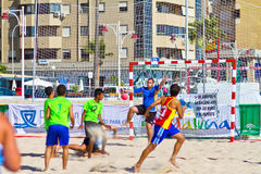 Match of the 19th league of beach handball, Cadiz Stock Photo