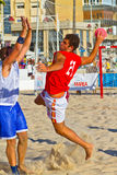 Match of the 19th league of beach handball, Cadiz Stock Image