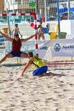 Match of the 19th league of beach handball, Cadiz Stock Image