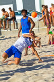 Match of the 19th league of beach handball, Cadiz Royalty Free Stock Photo