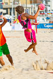 Match of the 19th league of beach handball, Cadiz Stock Images