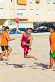 Match of the 19th league of beach handball, Cadiz Royalty Free Stock Photos