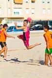 Match of the 19th league of beach handball, Cadiz Royalty Free Stock Image