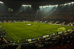 Before a match. Donetsk, Ukraine - November 3, 2010. The stadium Donbass Arena before the match of the Champions League Shakhtar - Arsenal Royalty Free Stock Image