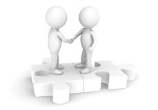 Match. 3d little human character X2 shaking hands on a Jigsaw Puzzle. All White and sparse Royalty Free Stock Image