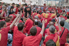 Before match. Gdansk, Poland - 10 June, 2012 - Spanish football fans on the streets of Gdansk, before the match group with Italy Royalty Free Stock Images