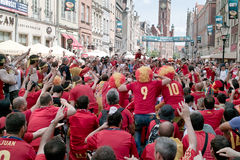 Before match. Gdansk, Poland - 10 June, 2012 -Spanish football fans on the streets of Gdansk, before the match group with Italy Royalty Free Stock Image