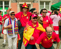 Before match. Gdansk, Poland - 10 June, 2012 - Spanish football fans on the streets of Gdansk, before the match group with Italy Stock Photography