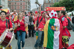 Before match. Gdansk, Poland - 14 June, 2012 -Spanish football fans on the streets of Gdansk, before the match group with Ireland Royalty Free Stock Images
