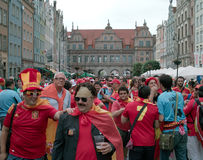 Before match. Gdansk, Poland - 14 June, 2012 -Spanish football fans on the streets of Gdansk, before the match group with Ireland Royalty Free Stock Photos