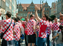 Before match. Gdansk, Poland - 18 June, 2012 -Croatia football fans on the streets of Gdansk, before the match group with Spain Royalty Free Stock Image