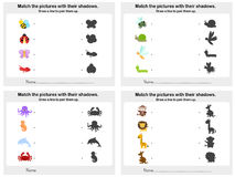 Match animal shadow 4 sheet - Worksheet for education Royalty Free Stock Photography