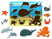 Match the animals and fish to their shadows. Match the underwater animals and fish to their shadows child game vector illustration Stock Photography