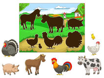 Match the animals to their shadows child game Royalty Free Stock Image