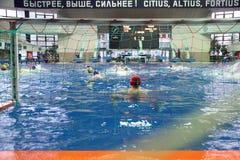 Match av lag Astana och dynamo på vattenpolo Arkivfoto