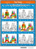 Match black and white sketch to colorful picture visual puzzle. Visual puzzle: Find the right black and white sketch for every colorful picture of toy town Royalty Free Stock Photo