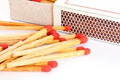 The match box and matches Stock Photography