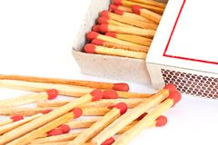 The match box and matches isolated Stock Image
