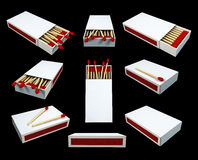 Match Boxes. Nine diffrent shots and poses of a 3D matchsticks boxes Stock Photo