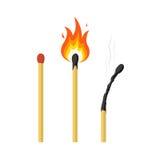 Match, brennendes Zündholz und gebranntes Match Lizenzfreie Stockfotos