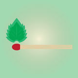 Match burn with green leaf conceptual Royalty Free Stock Photo