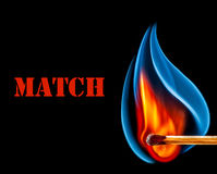 Match is burning on black background Stock Photo