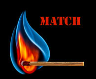 Match is burning on black background. Wooden match is burning on black background Royalty Free Stock Photo