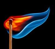 Match is burning on black background Stock Photography