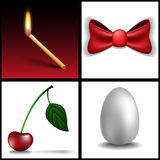 Match, cherry, egg and bow Stock Photos